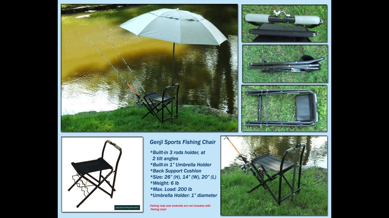 Folding Chair Fishing Pole Holder Slipcovers For Club Chairs With T Cushion Review 3 Rods Youtube