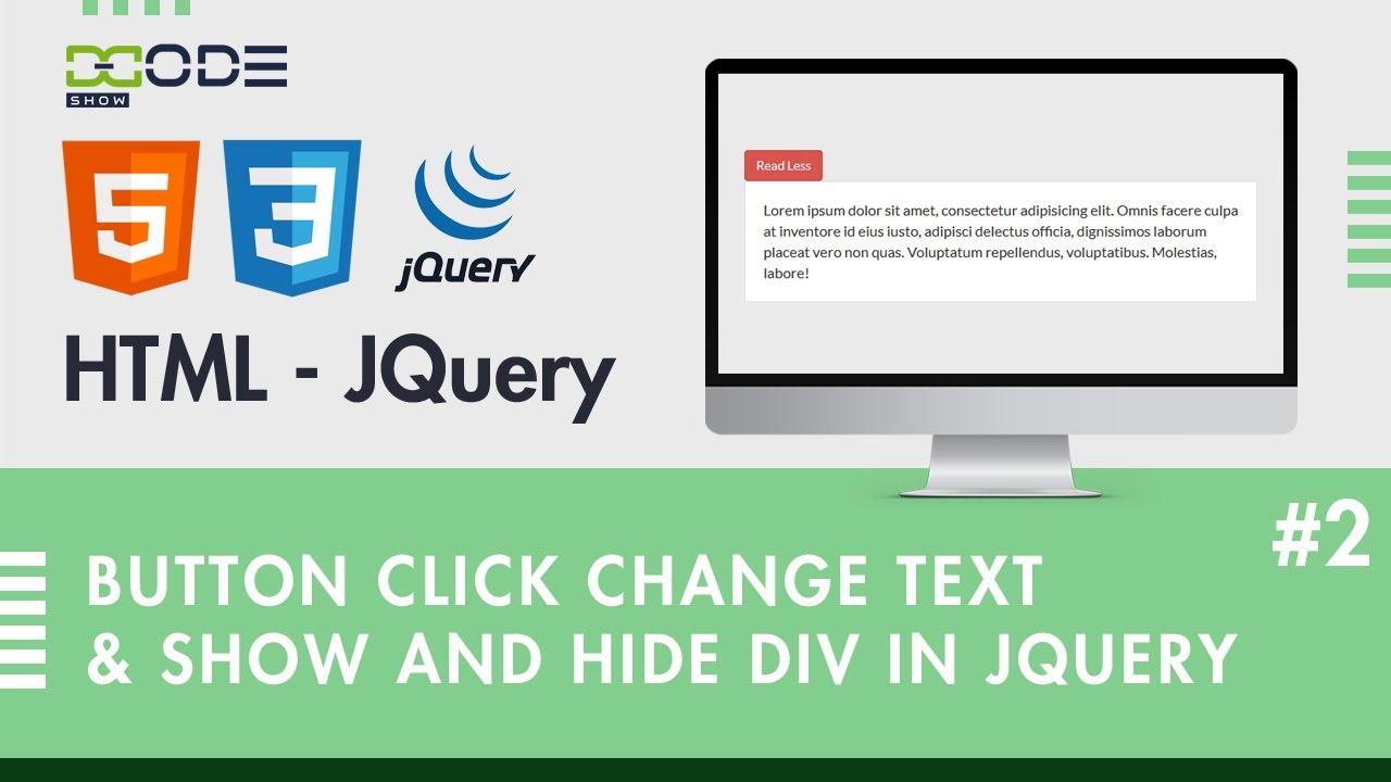 How to Change Button Text Using JQuery | Button Click Show & Hide Div JQuery