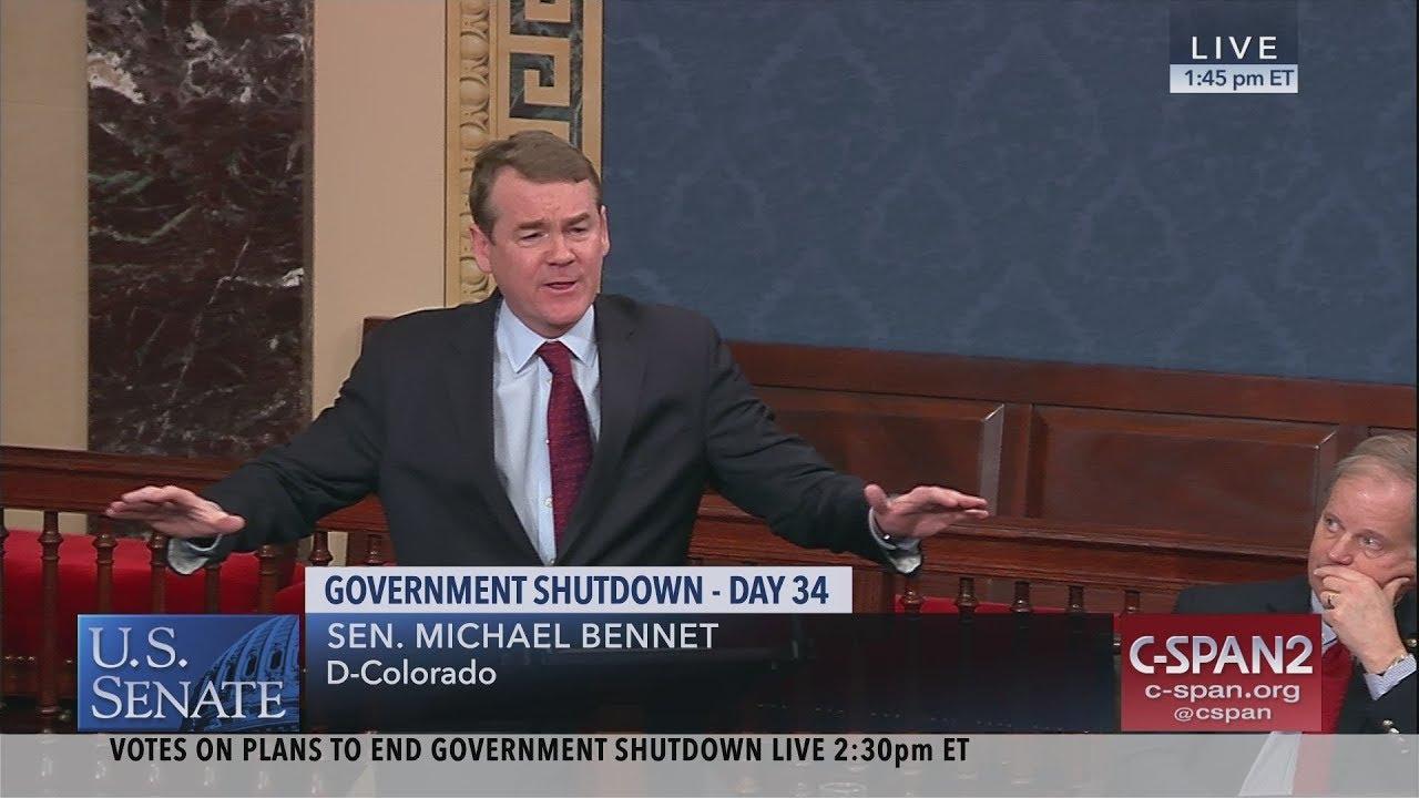 Sen. Michael Bennet (D-CO) on Government Shutdown (C-SPAN)