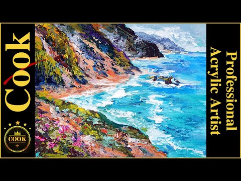 Hawaiian Island Cliffs Palette Knife Acrylic Painting Tutorial for Beginner and Advanced Artists