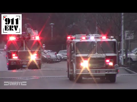Quincy, MA Fire Department Engine 2 and Ladder 5 Responding