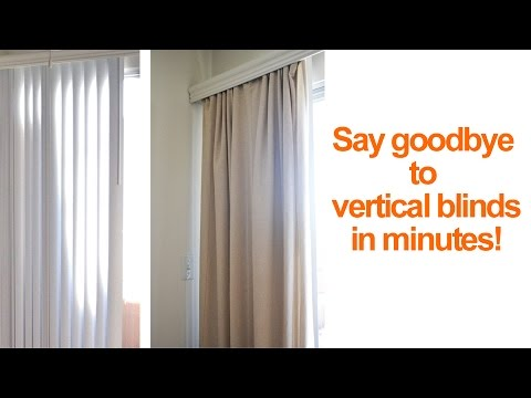 How to hide or replace vertical blinds with curtains in a re