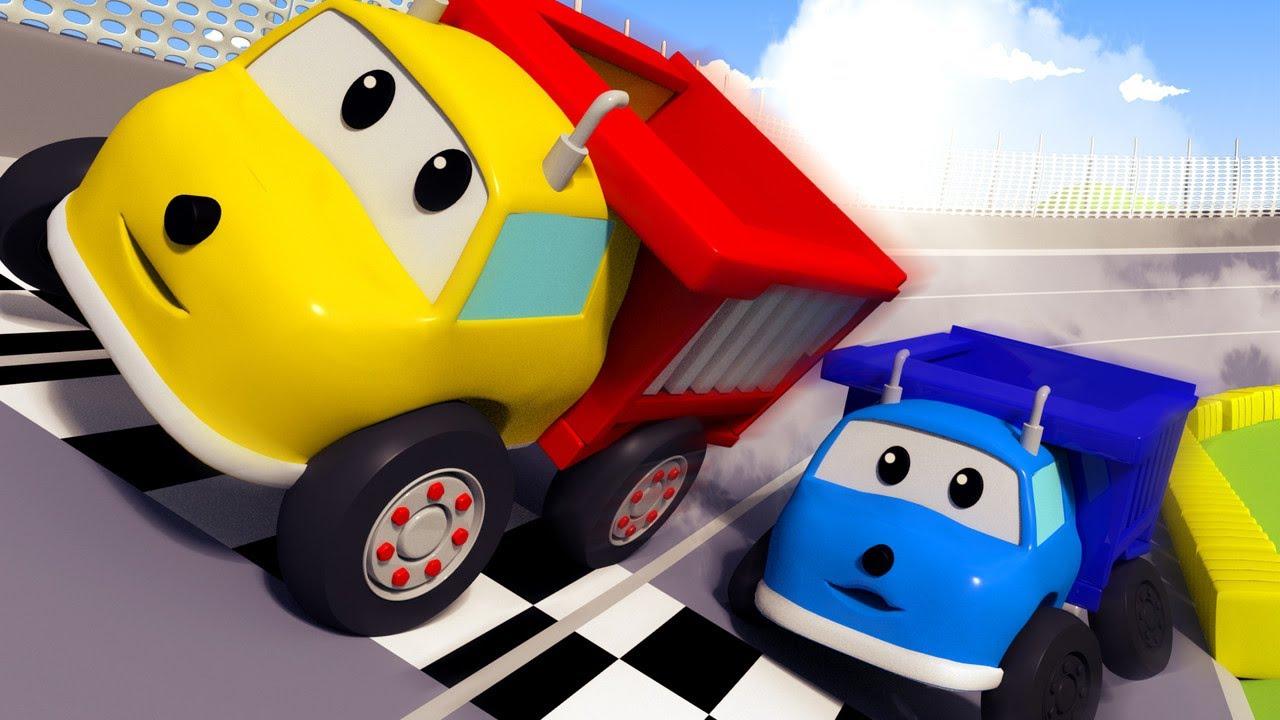 교육 카툰 -  자동차 정비 배우기! 경주를 위해 차를 셋업 해요!  3D 덤프트럭 장난감으로 배우는 교육 비디오