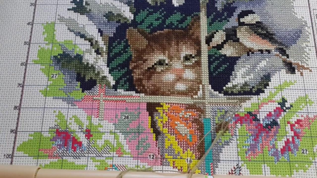 Мой китайский котик// Набор от Joy Sunday//Вышивка крестиком