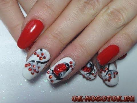 Снегири дизайн ногтей