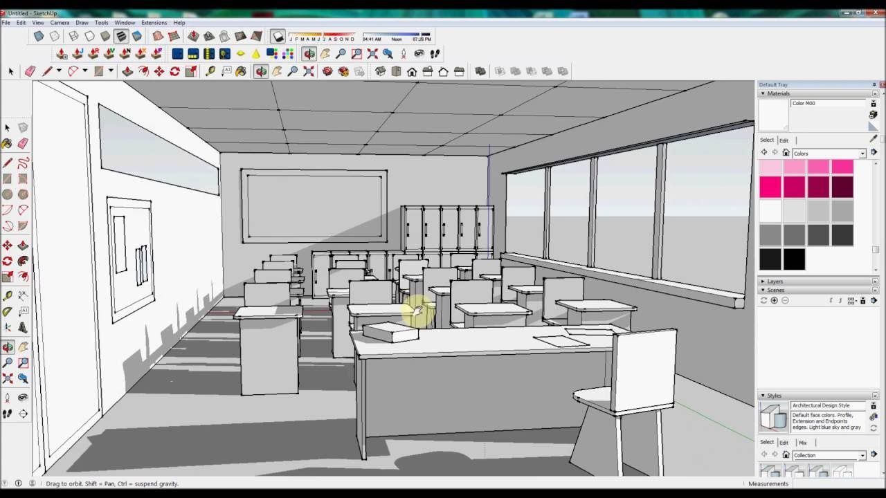 Classroom Design Sketch : Designing a simple classroom in sketchup timelapse youtube