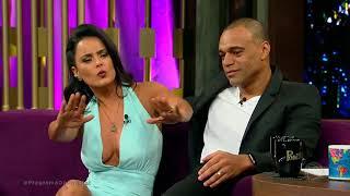Luciele di Camargo e Denílson discutem relacionamento no palco do Programa Do Porchat