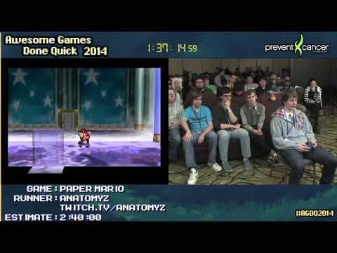 Paper Mario :: SPEED RUN (2:35:16) by anatomyz #AGDQ 2014 [N64]