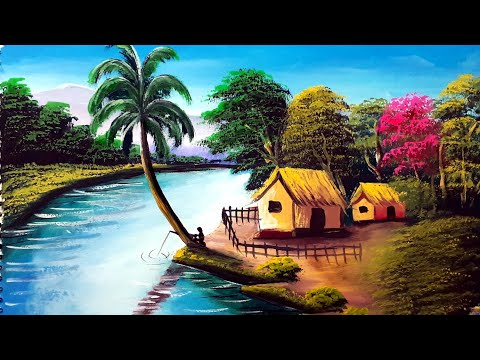 Indian Village Senary Painting Easy And Simply    Watercolour Painting Tutorial Step By Step