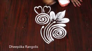 2 simple and easy evening Kolam design l simple daily rangoli design l latest muggulu