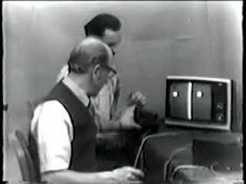 Ralph Baer and Bill Harrison Play PingPong Video Game, 1969