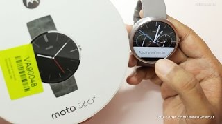 Moto 360 Smartwatch (Android Wear) Unboxing & Setup(Motorola Moto 360 Smartwatch Unboxing & Pairing with Android Smartwatch the Moto 360 is the first circular smart watch running on Android Wear and I do the ..., 2014-10-05T08:48:02.000Z)