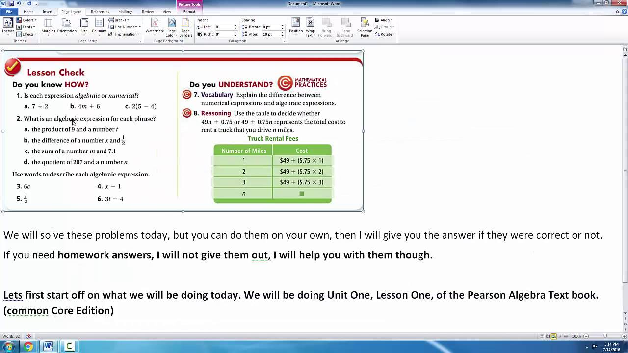 enVision Math- Algebra: Unit One, Lesson One- Lesson Check ...
