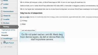 WordPress --eksport/import av data