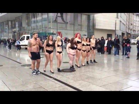 Bodylove Aktion Frankfurt - Furore auf der Zeil
