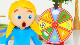 SUPERHERO BABIES PLAYING WITH A WHEEL OF FORTUNE ❤ SUPERHERO PLAY DOH CARTOONS FOR KIDS