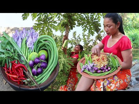Yummy Green Papaya Spicy with Natural vegetables for Food - Green Papaya for Lunch food ideas Ep 30