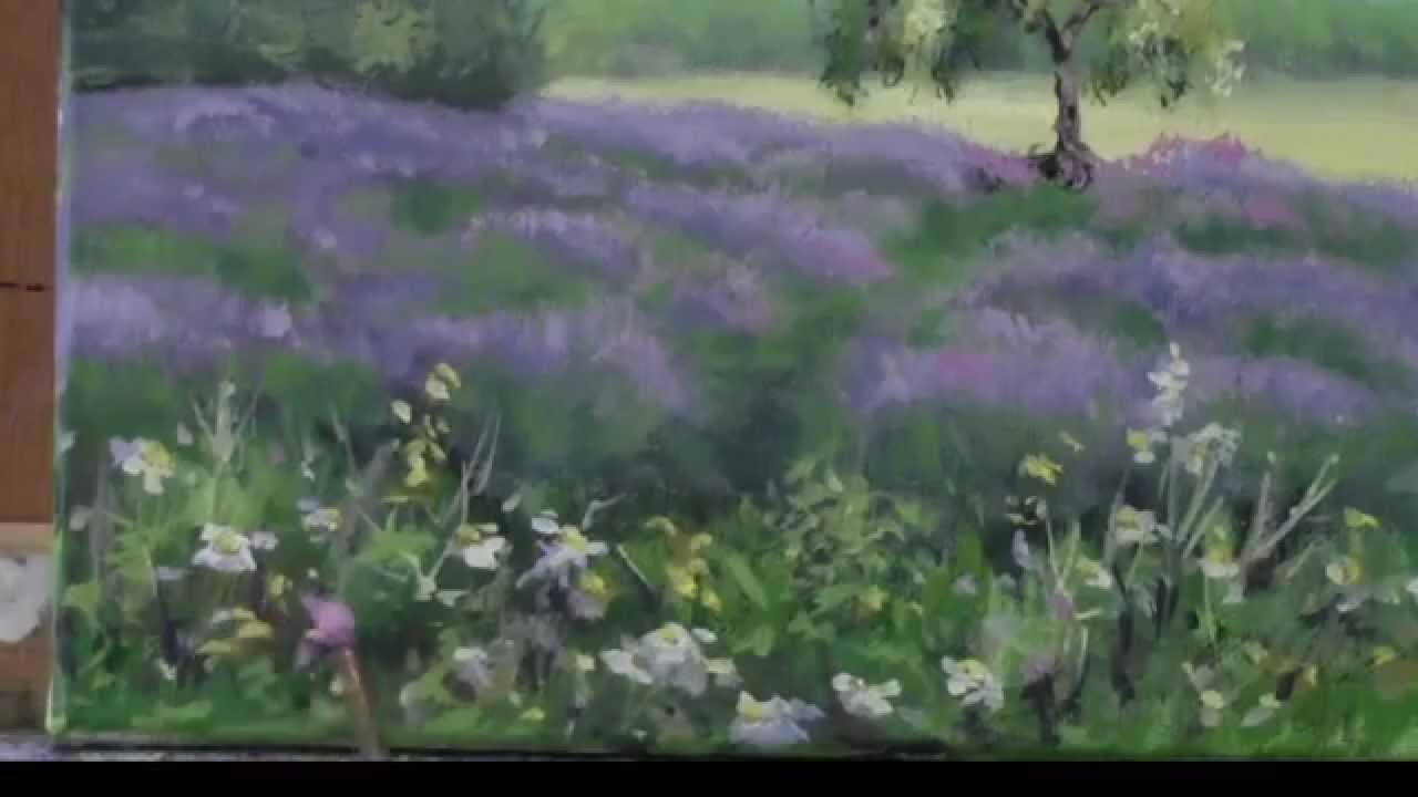 """Acrylic Painting Demo - """"Lavender Fields"""" - YouTube"""