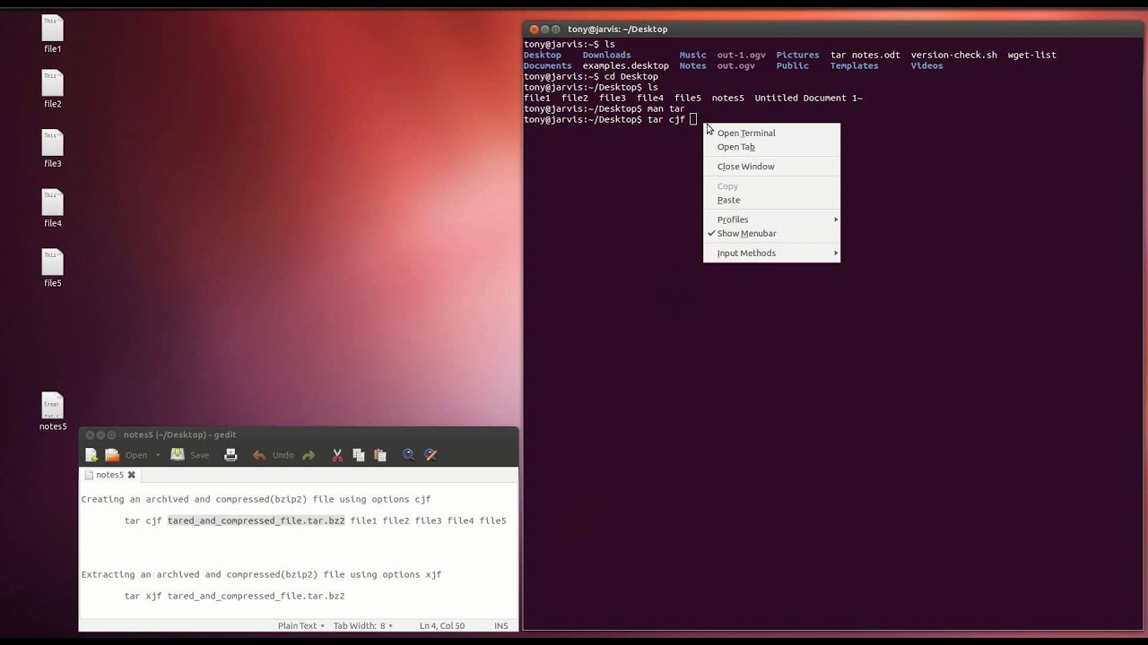 How to create and extract a  tar bz2 file using only the tar command