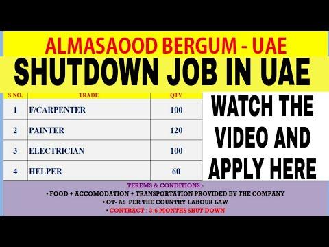 Job In Dubai | Shutdown Job In Dubai | Electrician | Furniture Carpenter | Painter | Helper | Visa