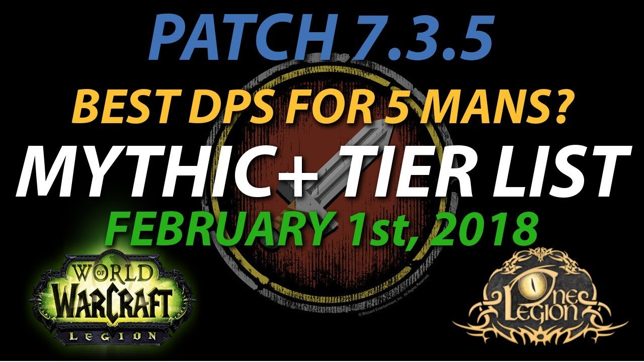Mythic Tier List Ranking Dps In 5 Mans Legion Patch 7 3 5 Feb 1st 2018 Youtube