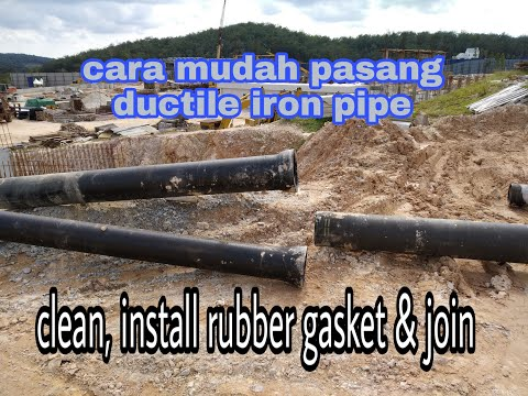Ductile iron pipe, installing rubber gasket and join pipe