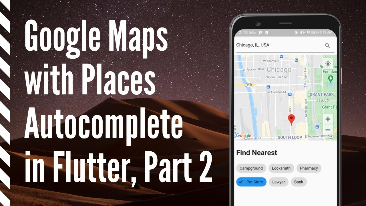 Google Map with Places Autocomplete in Flutter