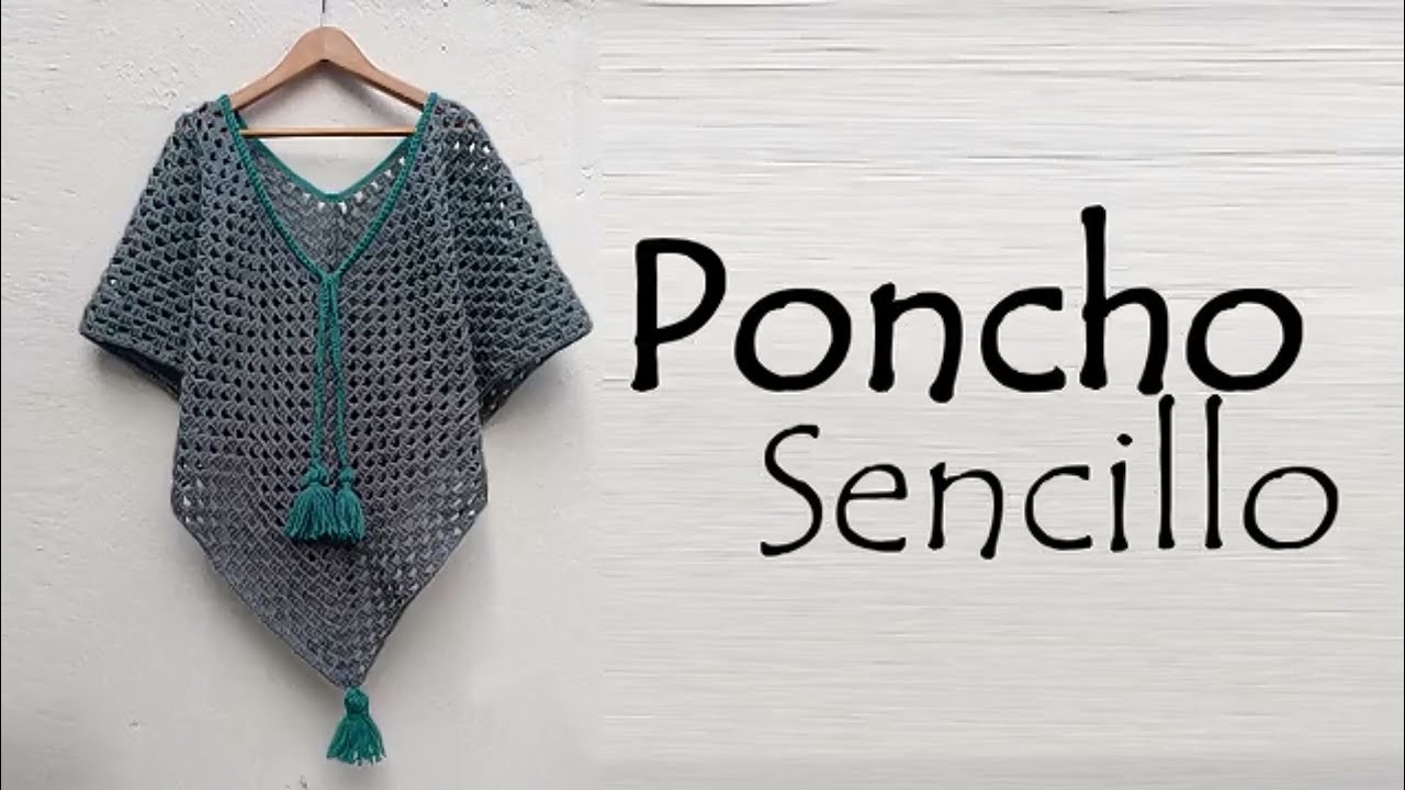 Poncho sencillo a crochet - YouTube