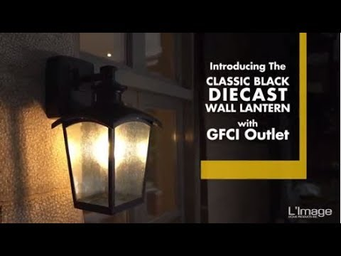 Home Luminaire Die Cast Outdoor Wall Lantern With Gfci Outlet Youtube