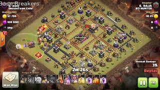 Anti 3 star Th11 war base 100% clear with miner attack strategy in CWL.
