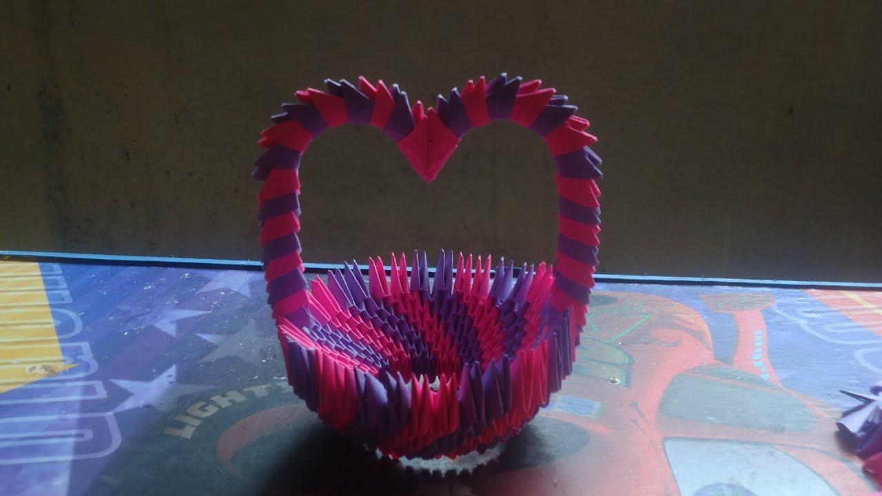 Como hacer una canasta de origami 3d arco de corazon - Como hacer jarrones de papel ...