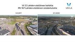 Vt 12 Lahden eteläinen kehätie, ilmakuvavideo, Mt 167 parantaminen, rinnakkaisvideot 2017 ja 2020