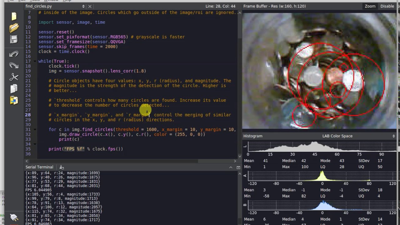 Circle Detection w/ the OpenMV Cam M7