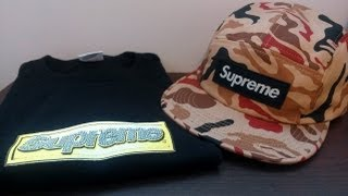 Supreme Bling Box Logo Tshirt and Utility Red Camo Camp Cap Review Spring Summer 2013