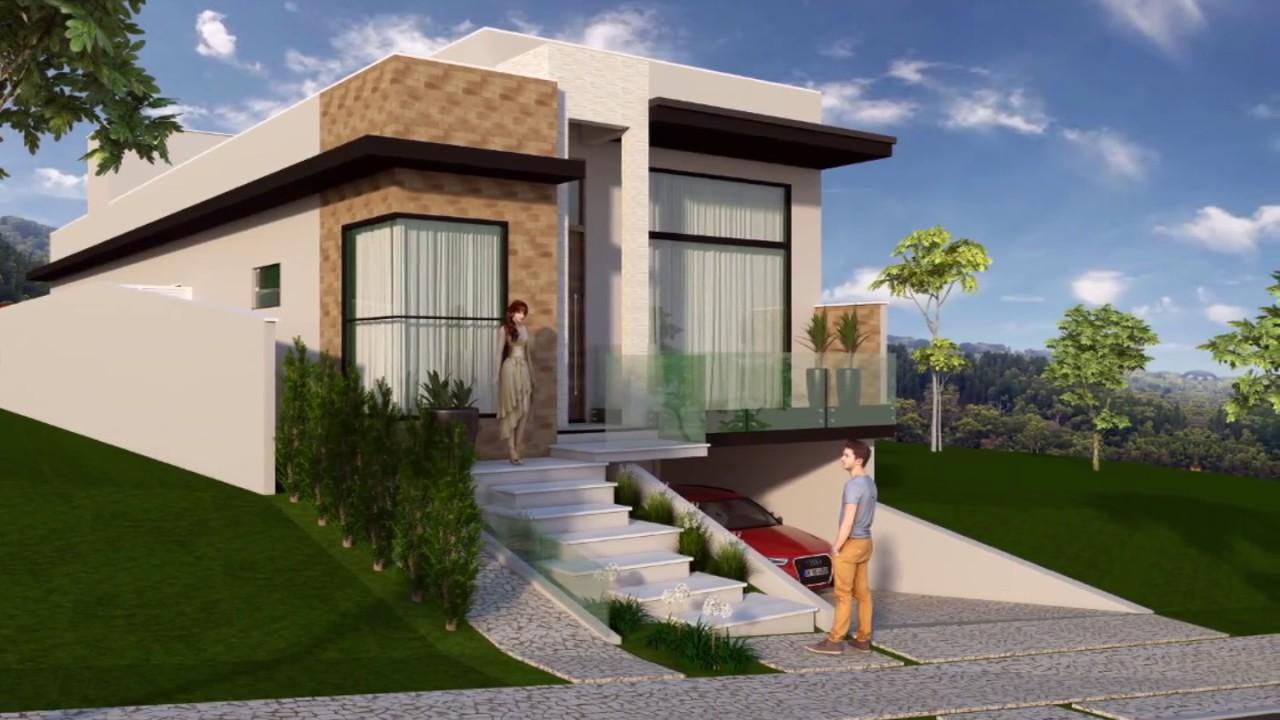 Projeto de casa t rrea em terreno de 10x30 com desn vel for Fachadas de casas modernas a desnivel