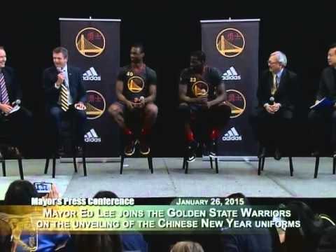 Mayor Lee joins Warriors to Unveil First-Ever Chinese New Year Uniforms