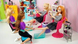 Barbie Elsa & Anna School Morning Routine & After School Routine - Nail Salon!