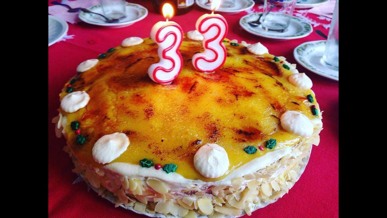 Tarta de San Marcos sin lactosa de yema tostada, nata y trufa - YouTube