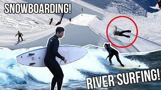 GNARLY BIG AIR BAIL AND RIVER SURFING!
