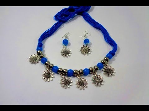 How to Make Thread Beads Necklace With Earring // Diwali Special Collection