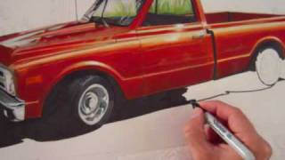 Me drawing my friends Chevy