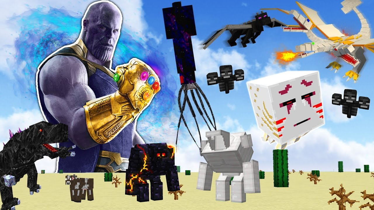 THE INFINITY GAUNTLET vs EVERY MINECRAFT BOSS!!