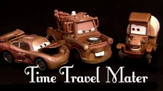 Repeat youtube video Time Travel Mater toys 3-pack Cars Toons Radiator Springs Beginnings Stanley Mater Lightning McQueen