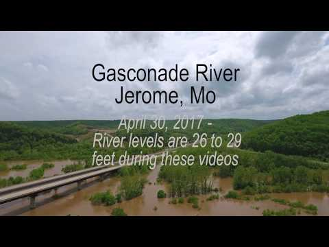 Aerial video of Gasconade River flooding in Jerome, Missouri - 2017 part 1