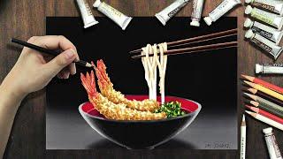 Let's draw udon with prawn tempura / えび天うどんを描きましょう