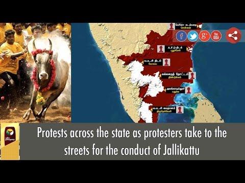 IN Graphics: Massive Jallikattu Support Protests across Tamil Nadu
