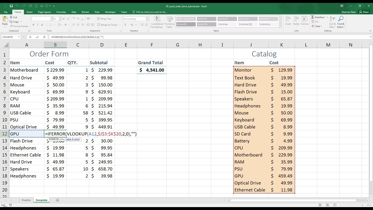Easy Excel - Create a Simple Order Form (30) - YouTube