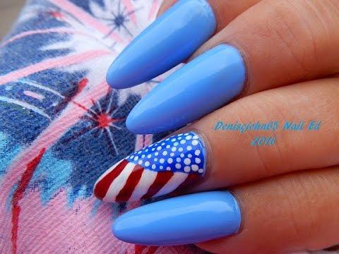 USA Flag Nails ---( I LOVE My Flag ) --EASY---Happy 4th Of July !!------------( Nail Polish )