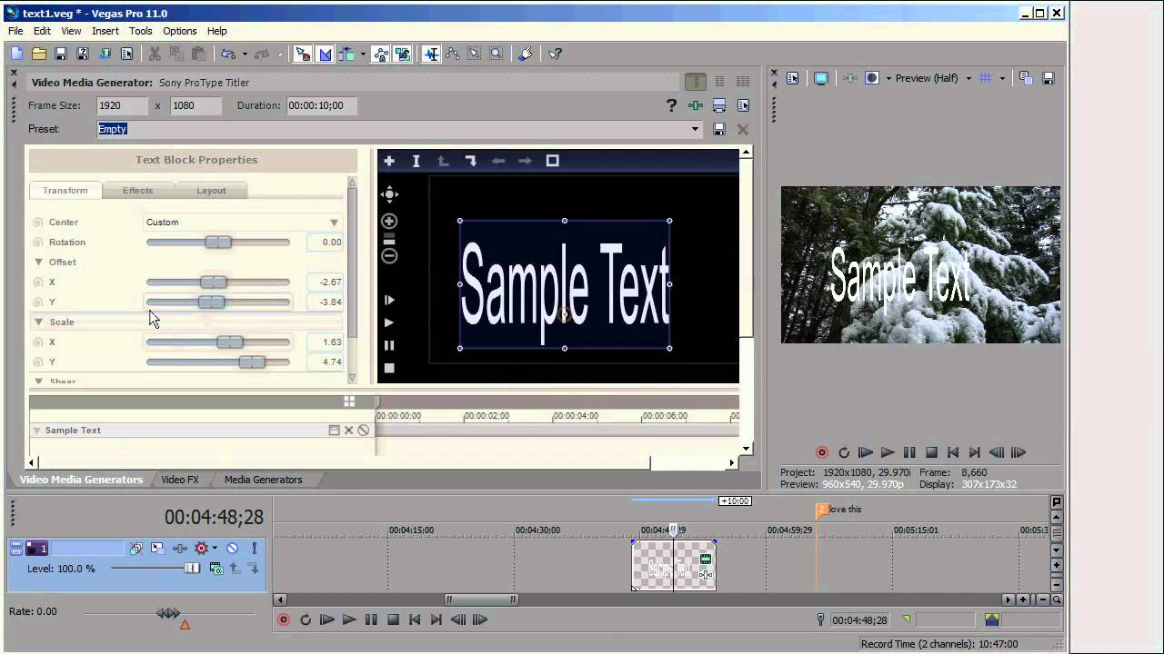 Creating Text in Sony Vegas Pro 11