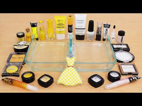 Yellow Vs White - Mixing Makeup Eyeshadow Into Slime ASMR 358 Satisfying Slime Video